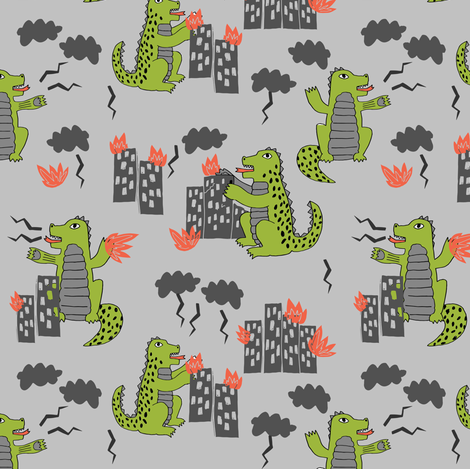 godzilla // grey and lime monsters fabric scary movie fabric kids scary design monsters fabric by andrea_lauren on Spoonflower - custom fabric