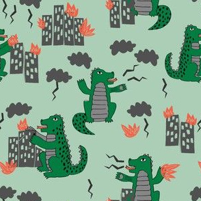 godzilla // green monster fabric scary movie fabric films kids monsters design