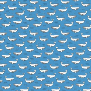 Whales on Blue Tiny Small