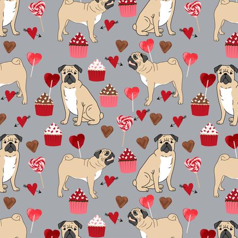 pug_valentines_grey fabric by petfriendly on Spoonflower - custom fabric