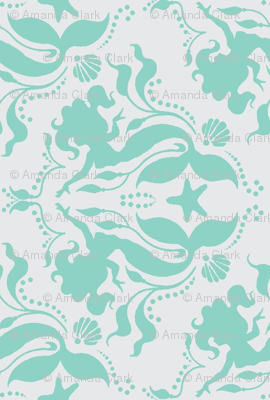 Mermaid Damask - Neptune on Grey, rotated