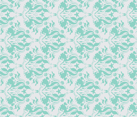 Mermaid Damask - Neptune on Grey, rotated fabric by sugarpinedesign on Spoonflower - custom fabric