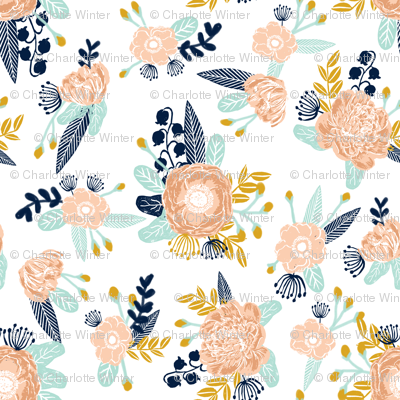 florals peach navy blue mint gold flowers painted floral painted flowers fabric nursery floral fabric