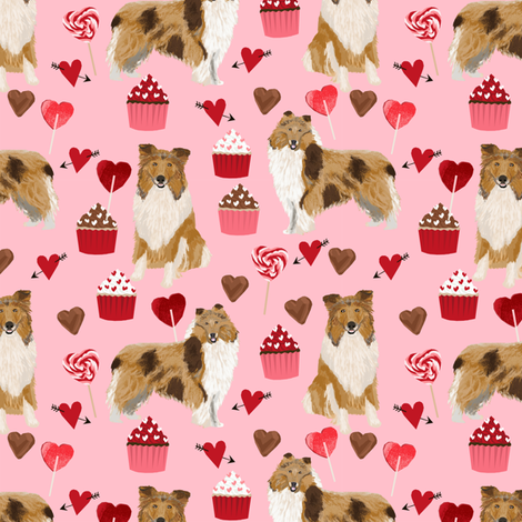 rough_collie_valentines_pink fabric by petfriendly on Spoonflower - custom fabric