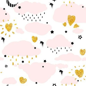 Unicorn Clouds - Pink Clouds - Gold Glitter Hearts