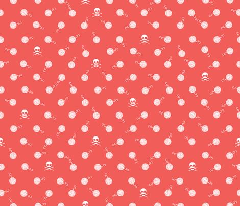 Yarn_Polka Dot_Mango Pink fabric by kfrogb on Spoonflower - custom fabric
