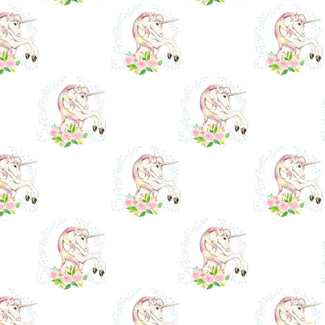 3 5 sweet floral unicorn large spacing fabric for Space unicorn fabric
