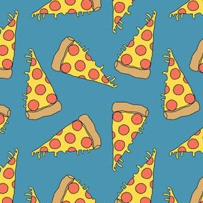 pizza // blue pizza junk food fabric cute pizza design pizzas fabric