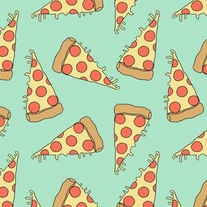pizza // pizzas mint fabric junk food fabric kids funky food fabric