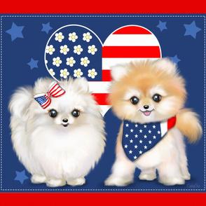 Patriotic Pomeranians panel