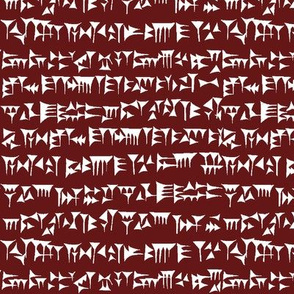 Babylonian Cuneiform on Burgundy // Small