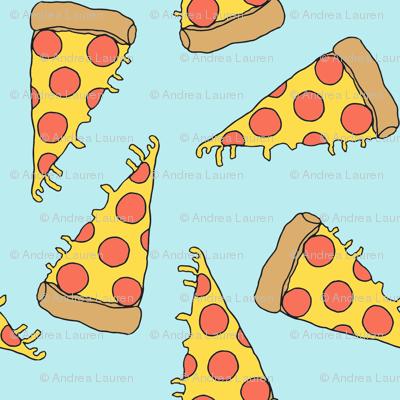 pizza // light blue pastel pizza junk food fabric junk food fabrics kids 90s fabric