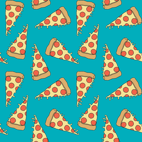 pizza fabric // turquoise pizza fabric food junk food fabric kids 90s design fabric by andrea_lauren on Spoonflower - custom fabric