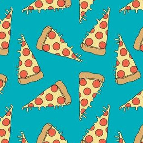 pizza fabric // turquoise pizza fabric food junk food fabric kids 90s design