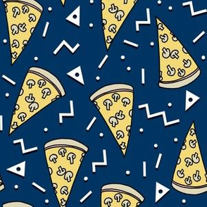 pizza party // navy pizza junk food fabric food junk food design