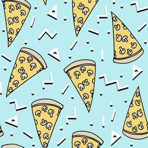 pizza party // light blue pastel blue food junk food fabric pizzas 90s design