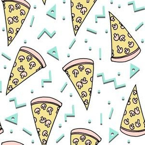pizza party // pastel pizza fabric mint and pink pizza fabric junk food design