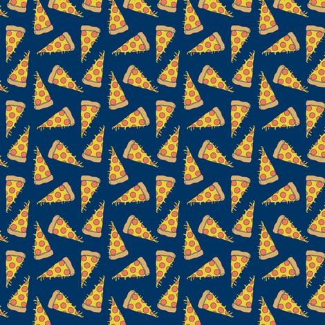 pizza // small pizzas fabric navy blue pizza food design fabric by andrea_lauren on Spoonflower - custom fabric