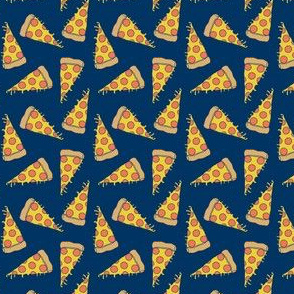pizza // small pizzas fabric navy blue pizza food design