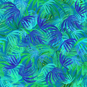 Tropical  palm Neon green & blue watercolor leaves