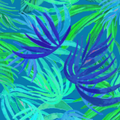 Watercolor Tropical  palm Neon green & blue watercolor leaves