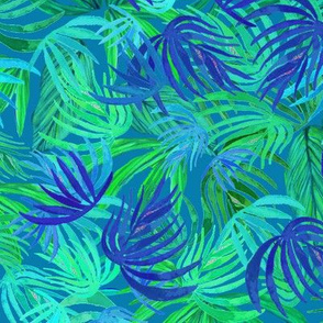 Palm leaf Green & blue Watercolor Tropical  palm Neon green & blue watercolor leaves