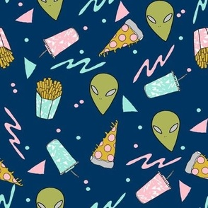 drive thru // space alien drive thru space junk food pizza design 90s design