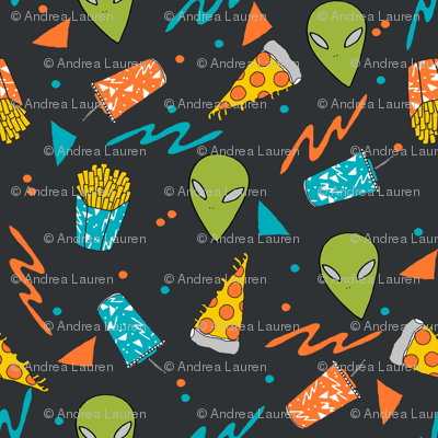 Drive thru space alien junk food outer space drive thru for Space pizza fabric