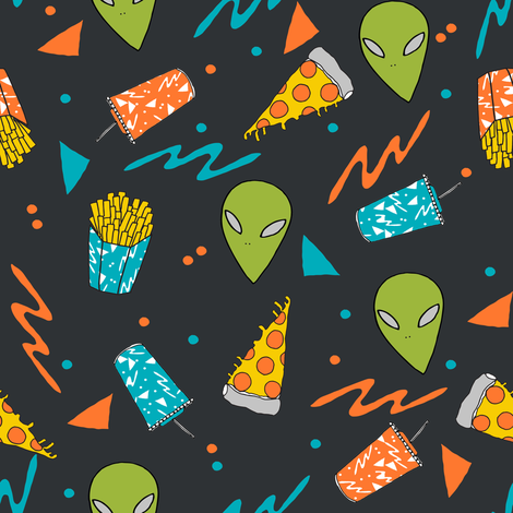 drive thru // space alien junk food outer space drive thru pizza fries fabric by andrea_lauren on Spoonflower - custom fabric