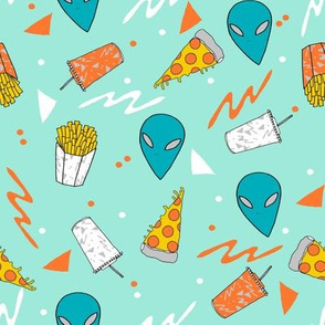 drive thru // space alien pizza drinks fries fabric 90s 80s design