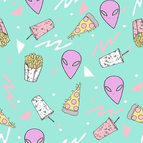drive thru // pastel drive thru space alien 80s 90s design pizza aliens food fabric