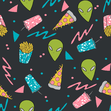drive thru // charcoal space alien fabric junk food french fries fabric  fabric by andrea_lauren on Spoonflower - custom fabric