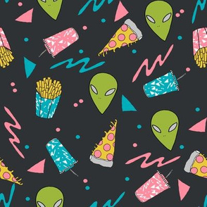drive thru // charcoal space alien fabric junk food french fries fabric