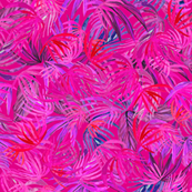 Watercolor Tropical palm hot pink yarrow
