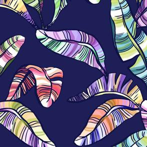 XL Rainbow Banana Leaves Motif