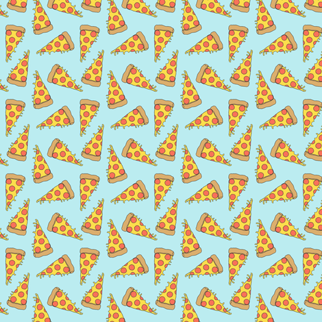 pizza // light blue pastel small version small mini pizza food fabric fabric by andrea_lauren on Spoonflower - custom fabric