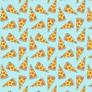 pizza // light blue pastel small version small mini pizza food fabric