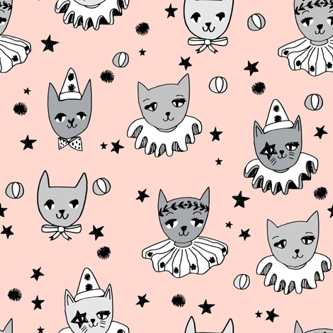 kooky cats // circus cats pierrot fabric black and white magic cat fabric fabric by andrea_lauren on Spoonflower - custom fabric