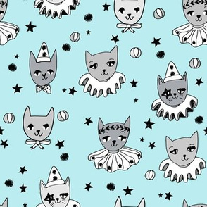 circus cats // baby blue pastel fabric cats kooky pierrot fabric