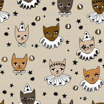 kooky cats // brown cats circus cats cat lady fabric pierrot magic show fabric