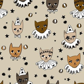 kooky cats // brown cats circus cats cat lady fabric pierrot magic show fabric