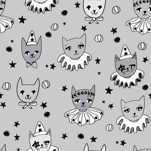 kooky cats // circus magic cats grey fabric cute cat design stars pierrot fabric
