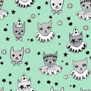 kooky cats // circus cats cat fabric pierrot magic cats cute mint pierrot cat fabric