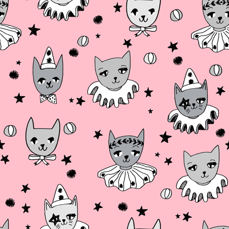 kooky cats // circus cats pierrot magic cat pink cat cute cat design cat ladies fabric fabric by andrea_lauren on Spoonflower - custom fabric