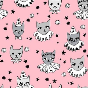 kooky cats // circus cats pierrot magic cat pink cat cute cat design cat ladies fabric