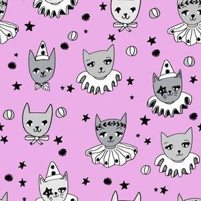 kooky cats // purple pastel magic cats kooky magic pierrot cat lady fabric