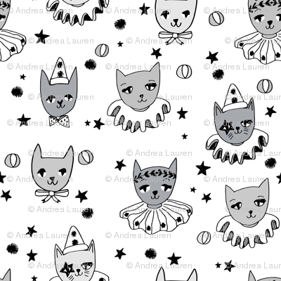 kooky cats // white kooky circus pierrot fabric magic cat lady design