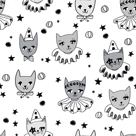 kooky cats // white kooky circus pierrot fabric magic cat lady design fabric by andrea_lauren on Spoonflower - custom fabric