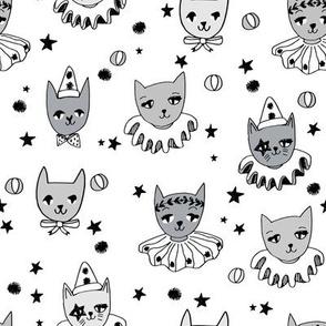 kooky cats // white kooky circus pierrot fabric magic cat lady design