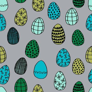 easter eggs // grey and turquoise easter egg fabric spring boys easter fabric
